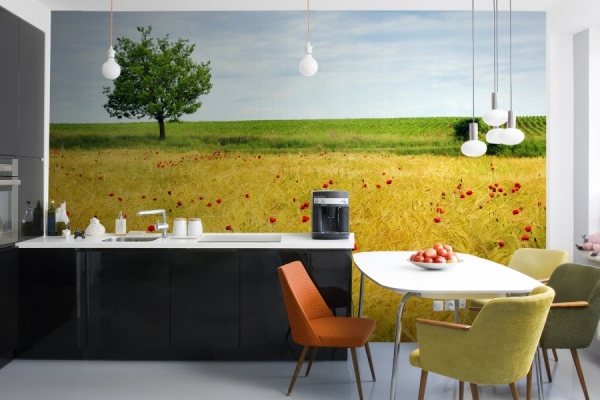 фотообои дополняют интерьер кухни