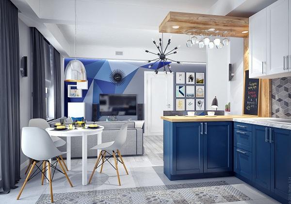 Темно-синяя кухня с деревянными элементами декора