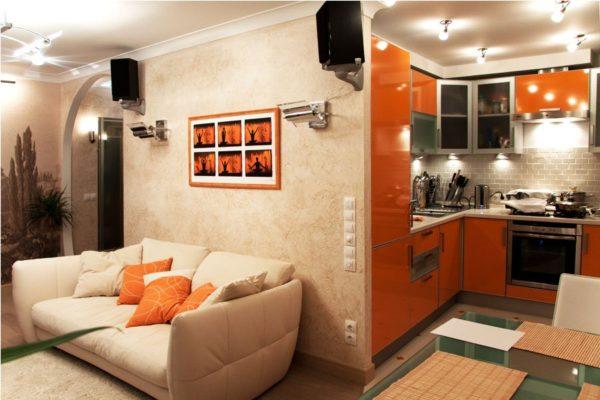 Кухня гостиная современный дизайн 4