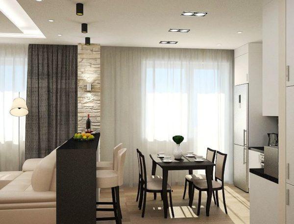 Кухня гостиная современный дизайн 2