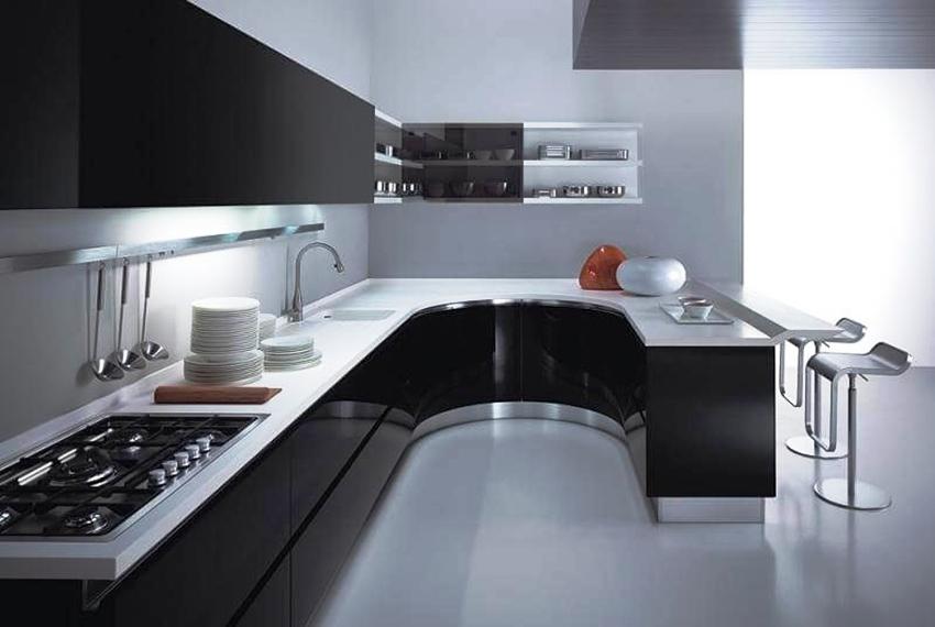 Кухонная мебель в стиле хай тек имеет лаконичный дизайн, прямые или, наоборот, обтекаемые линии