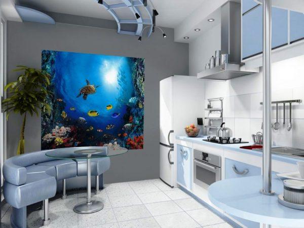 Морские фотообои в интерьере кухни