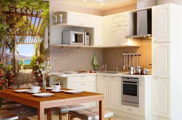 Фотообои в интерьере кухни могут помочь отделить обеденную зону от рабочей