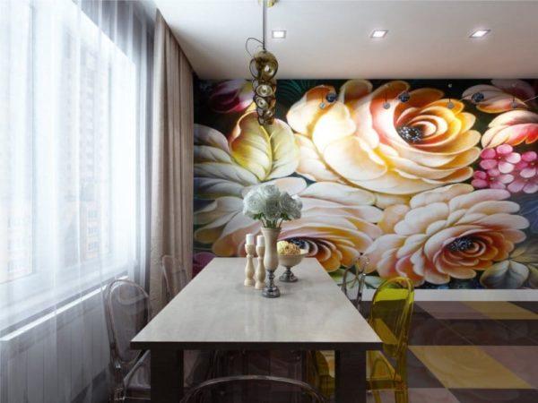 Дизайнерские идеи с фотообоями на кухне