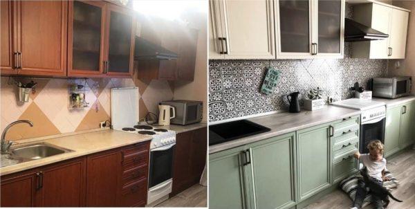 Как покрасить мебель на кухне