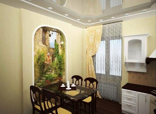 Оживить обстановку поможет акцентная стена с крупным пейзажем или эффектным макро изображением в виде фотообоев или настенного панно