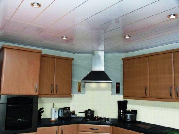 Пластик сравнительно недорогой материал для отделки кухонного потолка