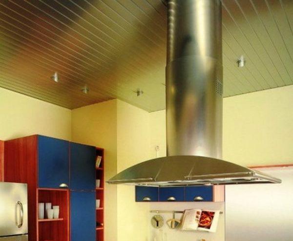 Реечные потолки хорошо смотрятся если мебель или техника тоже стального цвета