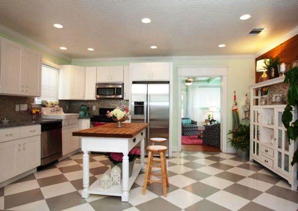 Кафельная плитка для пола на кухне