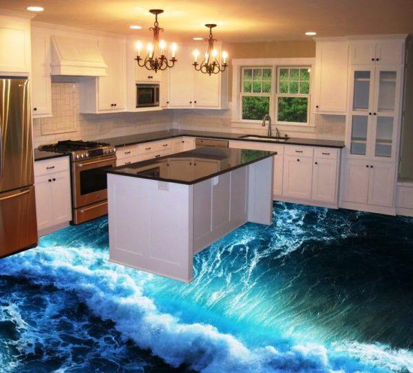 Наливные полы на кухне