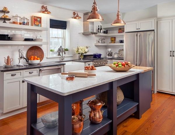 Медные элементы в интерьере кухни