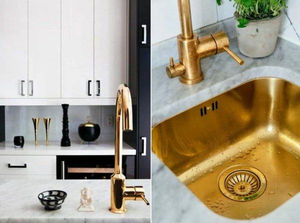 Безусловно, самым популярным местом использования бронзы на кухне является сверкающий бронзовый смеситель. Традиционно, такие смесители отличаются элегантностью и стилем