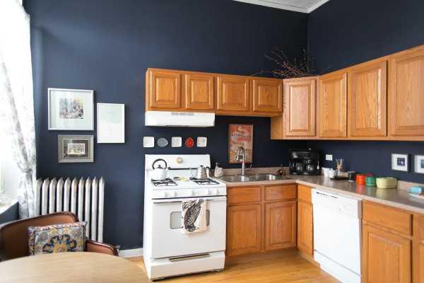 Темно-синие стены на кухне