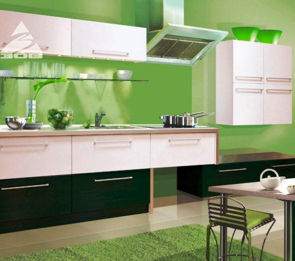 Зеленый цвет для стен кухни