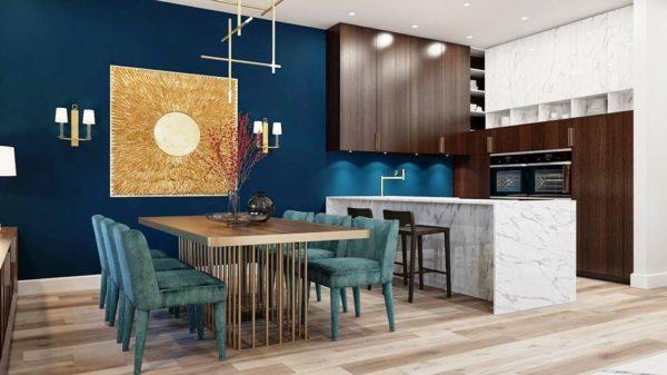 Темно-синие акценты в интерьере кухни